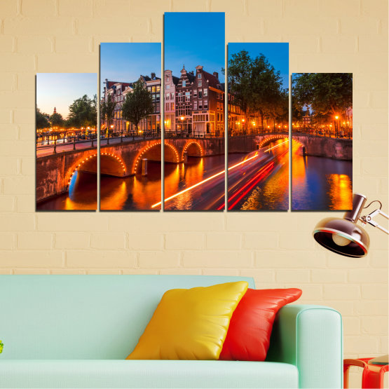 Canvas prints & wall decorative panels - 5 pieces №0109 » Red, Blue, Orange, Brown, Black, Dark grey » Water, Lights, Bridge, Capital, Netherlands Form #5