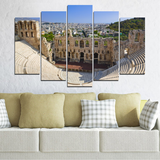 Canvas prints & wall decorative panels - 5 pieces №0110 » Turquoise, Brown, Gray, Beige, Dark grey » Europe, Ancient, Building, Athens Form #1