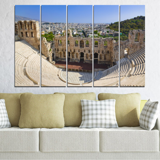 Canvas prints & wall decorative panels - 5 pieces №0110 » Turquoise, Brown, Gray, Beige, Dark grey » Europe, Ancient, Building, Athens Form #2