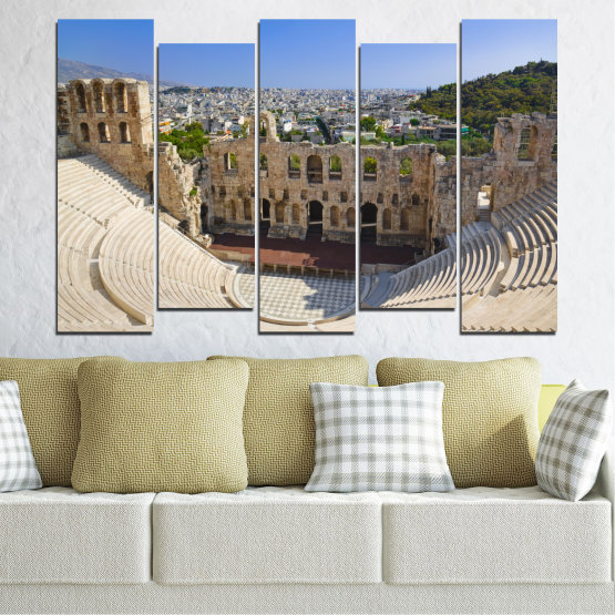 Canvas prints & wall decorative panels - 5 pieces №0110 » Turquoise, Brown, Gray, Beige, Dark grey » Europe, Ancient, Building, Athens Form #3