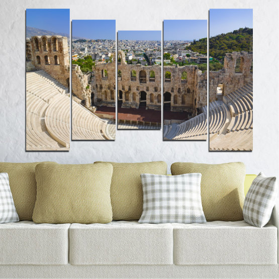 Canvas prints & wall decorative panels - 5 pieces №0110 » Turquoise, Brown, Gray, Beige, Dark grey » Europe, Ancient, Building, Athens Form #4