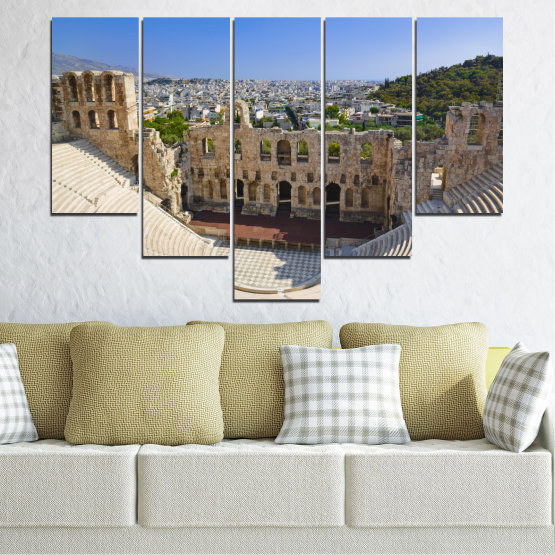 Canvas prints & wall decorative panels - 5 pieces №0110 » Turquoise, Brown, Gray, Beige, Dark grey » Europe, Ancient, Building, Athens Form #6