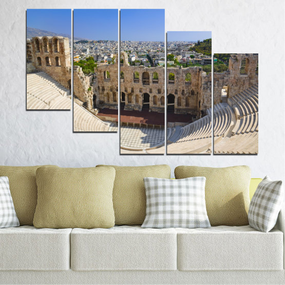 Canvas prints & wall decorative panels - 5 pieces №0110 » Turquoise, Brown, Gray, Beige, Dark grey » Europe, Ancient, Building, Athens Form #7