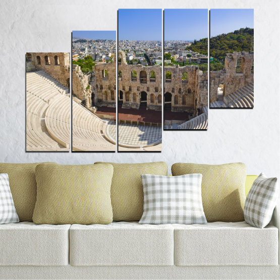 Canvas prints & wall decorative panels - 5 pieces №0110 » Turquoise, Brown, Gray, Beige, Dark grey » Europe, Ancient, Building, Athens Form #8