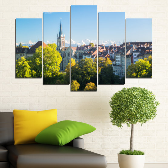Canvas prints & wall decorative panels - 5 pieces №0111 » Turquoise, Green, Black, Gray, Dark grey » City, View, Switzerland, Capital Form #1