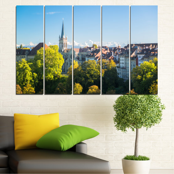 Canvas prints & wall decorative panels - 5 pieces №0111 » Turquoise, Green, Black, Gray, Dark grey » City, View, Switzerland, Capital Form #2