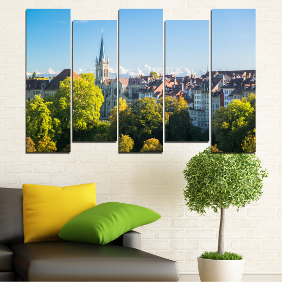 Canvas prints & wall decorative panels - 5 pieces №0111 » Turquoise, Green, Black, Gray, Dark grey » City, View, Switzerland, Capital Form #3