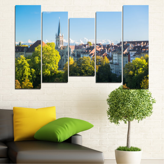 Canvas prints & wall decorative panels - 5 pieces №0111 » Turquoise, Green, Black, Gray, Dark grey » City, View, Switzerland, Capital Form #4