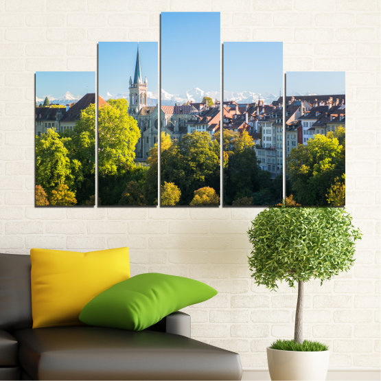 Canvas prints & wall decorative panels - 5 pieces №0111 » Turquoise, Green, Black, Gray, Dark grey » City, View, Switzerland, Capital Form #5