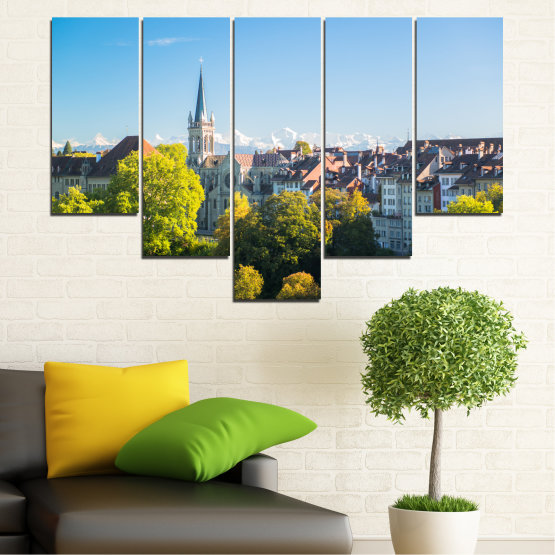 Canvas prints & wall decorative panels - 5 pieces №0111 » Turquoise, Green, Black, Gray, Dark grey » City, View, Switzerland, Capital Form #6