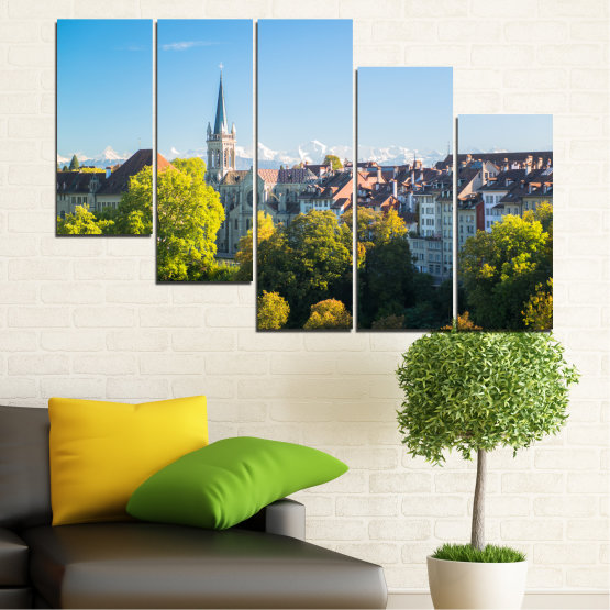 Canvas prints & wall decorative panels - 5 pieces №0111 » Turquoise, Green, Black, Gray, Dark grey » City, View, Switzerland, Capital Form #7