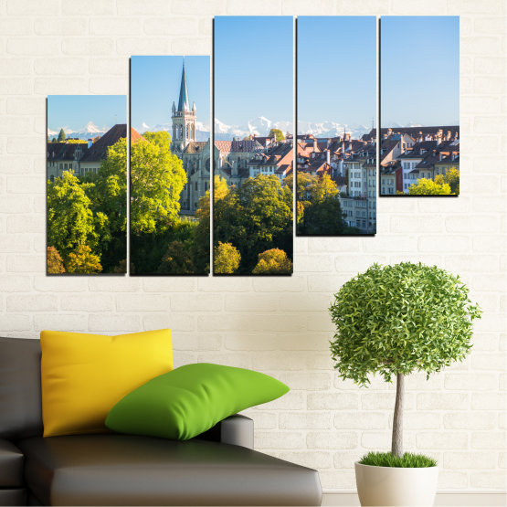 Canvas prints & wall decorative panels - 5 pieces №0111 » Turquoise, Green, Black, Gray, Dark grey » City, View, Switzerland, Capital Form #8