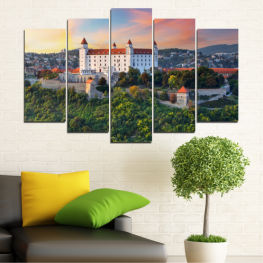 Landscape, Sunrise, Castle, Europe, Bratislava » Brown, Black, Gray, Beige, Dark grey