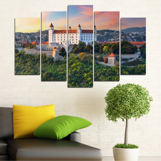 Canvas prints & wall decorative panels - 5 pieces №0113 » Brown, Black, Gray, Beige, Dark grey » Landscape, Sunrise, Castle, Europe, Bratislava Form #1