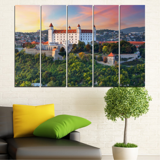 Canvas prints & wall decorative panels - 5 pieces №0113 » Brown, Black, Gray, Beige, Dark grey » Landscape, Sunrise, Castle, Europe, Bratislava Form #2