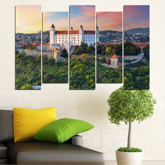 Canvas prints & wall decorative panels - 5 pieces №0113 » Brown, Black, Gray, Beige, Dark grey » Landscape, Sunrise, Castle, Europe, Bratislava Form #3