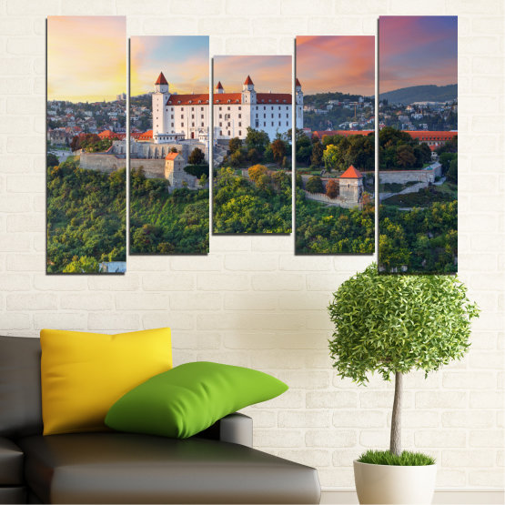 Canvas prints & wall decorative panels - 5 pieces №0113 » Brown, Black, Gray, Beige, Dark grey » Landscape, Sunrise, Castle, Europe, Bratislava Form #4