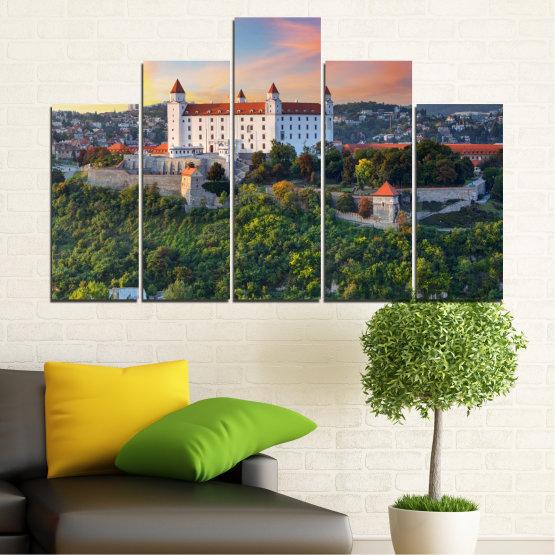 Canvas prints & wall decorative panels - 5 pieces №0113 » Brown, Black, Gray, Beige, Dark grey » Landscape, Sunrise, Castle, Europe, Bratislava Form #5