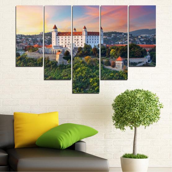 Canvas prints & wall decorative panels - 5 pieces №0113 » Brown, Black, Gray, Beige, Dark grey » Landscape, Sunrise, Castle, Europe, Bratislava Form #6