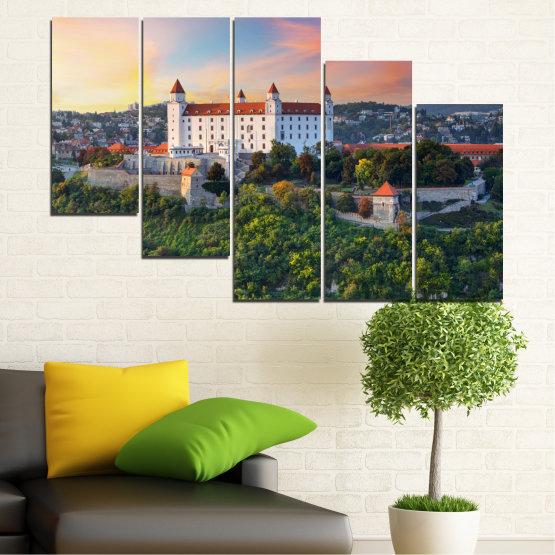 Canvas prints & wall decorative panels - 5 pieces №0113 » Brown, Black, Gray, Beige, Dark grey » Landscape, Sunrise, Castle, Europe, Bratislava Form #7