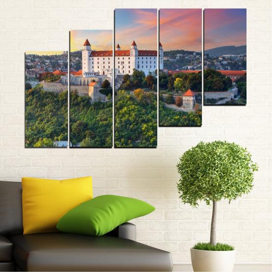 Canvas prints & wall decorative panels - 5 pieces №0113 » Brown, Black, Gray, Beige, Dark grey » Landscape, Sunrise, Castle, Europe, Bratislava Form #8