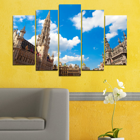 Canvas prints & wall decorative panels - 5 pieces №0114 » Blue, Turquoise, Gray, White, Beige, Dark grey » City, Capital, Germany, Cathedral Form #1