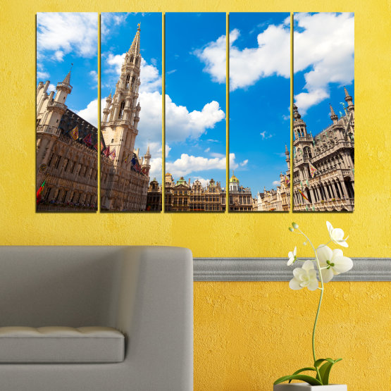Canvas prints & wall decorative panels - 5 pieces №0114 » Blue, Turquoise, Gray, White, Beige, Dark grey » City, Capital, Germany, Cathedral Form #2