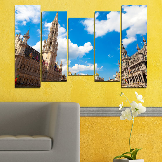 Canvas prints & wall decorative panels - 5 pieces №0114 » Blue, Turquoise, Gray, White, Beige, Dark grey » City, Capital, Germany, Cathedral Form #4