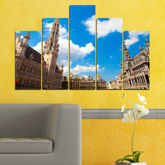 Canvas prints & wall decorative panels - 5 pieces №0114 » Blue, Turquoise, Gray, White, Beige, Dark grey » City, Capital, Germany, Cathedral Form #5
