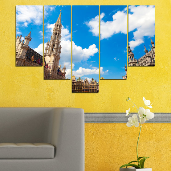 Canvas prints & wall decorative panels - 5 pieces №0114 » Blue, Turquoise, Gray, White, Beige, Dark grey » City, Capital, Germany, Cathedral Form #6