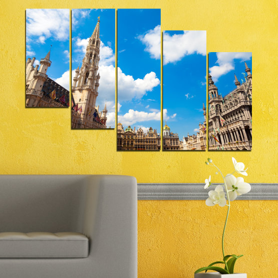 Canvas prints & wall decorative panels - 5 pieces №0114 » Blue, Turquoise, Gray, White, Beige, Dark grey » City, Capital, Germany, Cathedral Form #7
