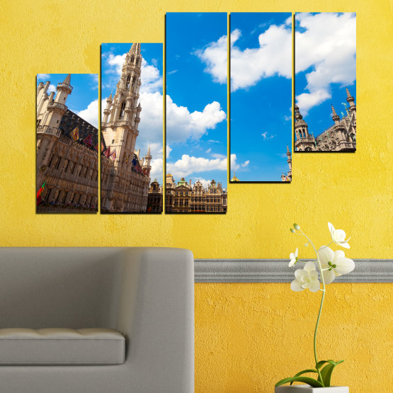 Canvas prints & wall decorative panels - 5 pieces №0114 » Blue, Turquoise, Gray, White, Beige, Dark grey » City, Capital, Germany, Cathedral Form #8