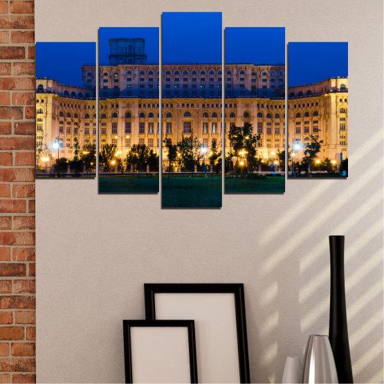 Декоративни панели и картини от канава - от 5 части №0115 » Син, Кафяв, Черен, Тъмно сив » Град, Замък, Столица, Румъния Form #1
