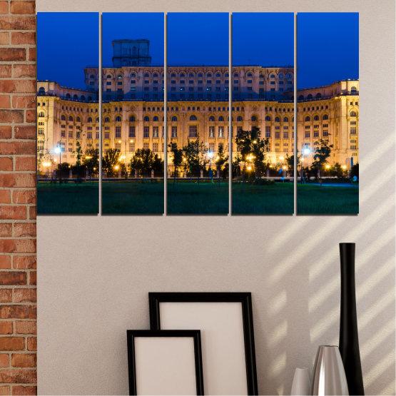 Декоративни панели и картини от канава - от 5 части №0115 » Син, Кафяв, Черен, Тъмно сив » Град, Замък, Столица, Румъния Form #2