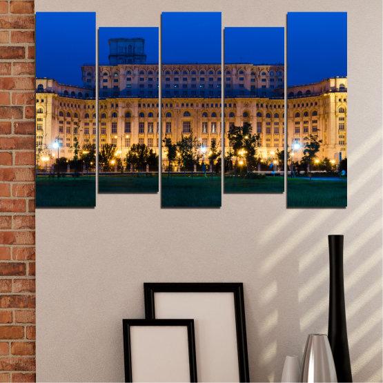 Декоративни панели и картини от канава - от 5 части №0115 » Син, Кафяв, Черен, Тъмно сив » Град, Замък, Столица, Румъния Form #3