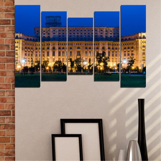 Декоративни панели и картини от канава - от 5 части №0115 » Син, Кафяв, Черен, Тъмно сив » Град, Замък, Столица, Румъния Form #4