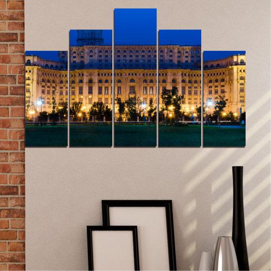 Декоративни панели и картини от канава - от 5 части №0115 » Син, Кафяв, Черен, Тъмно сив » Град, Замък, Столица, Румъния Form #5
