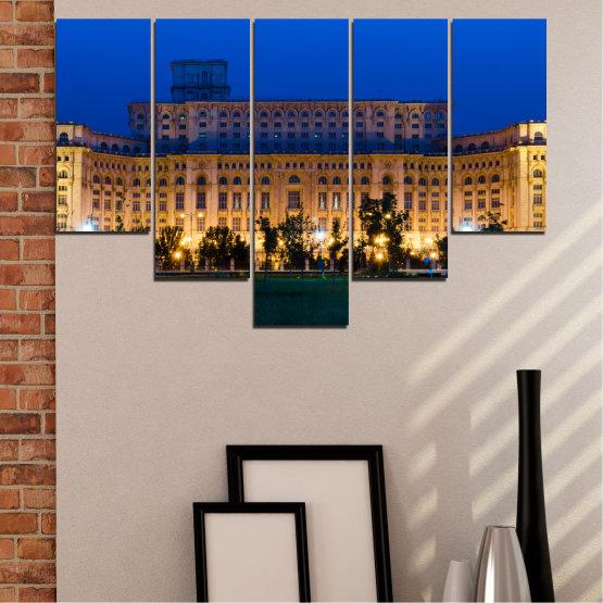 Декоративни панели и картини от канава - от 5 части №0115 » Син, Кафяв, Черен, Тъмно сив » Град, Замък, Столица, Румъния Form #6