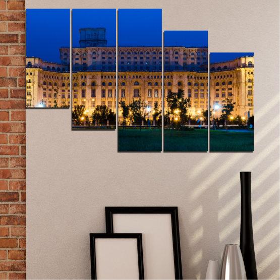 Декоративни панели и картини от канава - от 5 части №0115 » Син, Кафяв, Черен, Тъмно сив » Град, Замък, Столица, Румъния Form #7