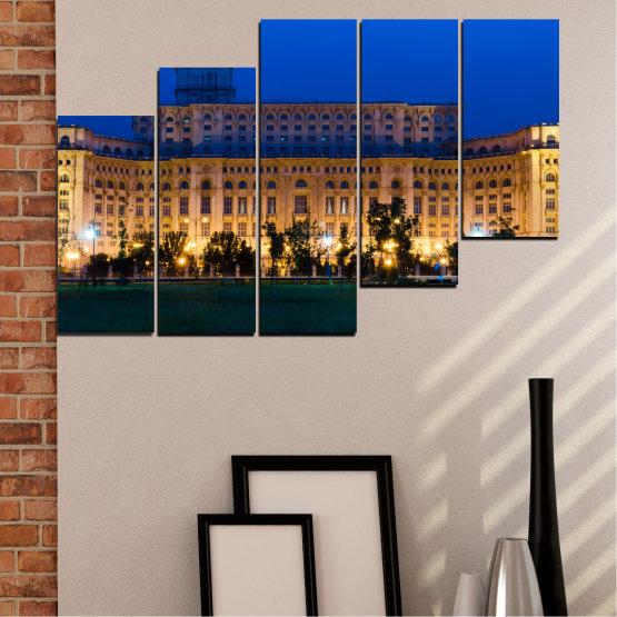 Декоративни панели и картини от канава - от 5 части №0115 » Син, Кафяв, Черен, Тъмно сив » Град, Замък, Столица, Румъния Form #8