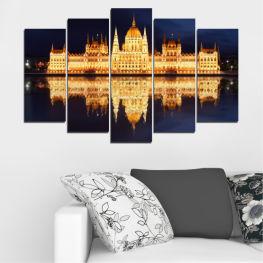 Град, Нощ, Парламент, Унгария » Жълт, Оранжев, Черен, Бежов, Тъмно сив