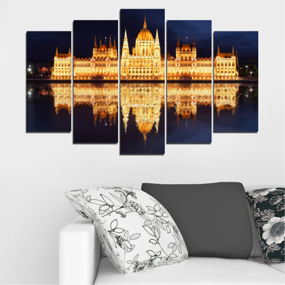 Canvas prints & wall decorative panels - 5 pieces №0116 » Yellow, Orange, Black, Beige, Dark grey » City, Night, Parliament, Hungary Form #1