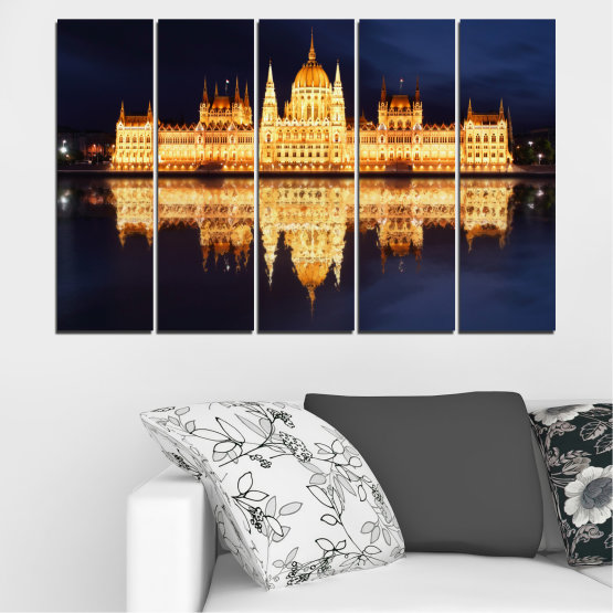 Canvas prints & wall decorative panels - 5 pieces №0116 » Yellow, Orange, Black, Beige, Dark grey » City, Night, Parliament, Hungary Form #2