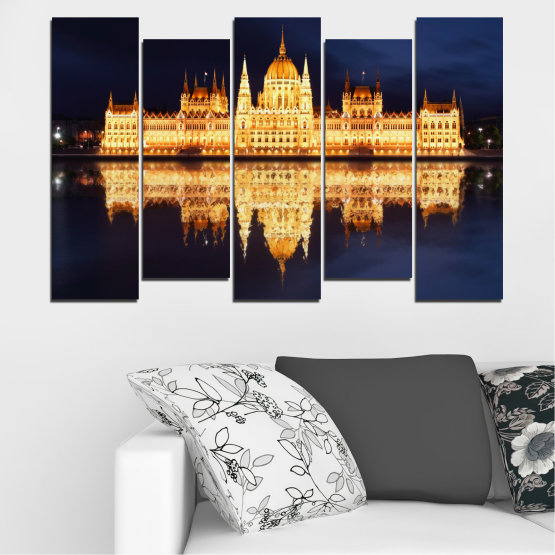 Canvas prints & wall decorative panels - 5 pieces №0116 » Yellow, Orange, Black, Beige, Dark grey » City, Night, Parliament, Hungary Form #3