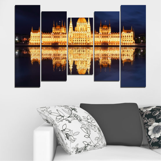Canvas prints & wall decorative panels - 5 pieces №0116 » Yellow, Orange, Black, Beige, Dark grey » City, Night, Parliament, Hungary Form #4