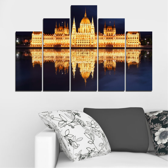 Canvas prints & wall decorative panels - 5 pieces №0116 » Yellow, Orange, Black, Beige, Dark grey » City, Night, Parliament, Hungary Form #5