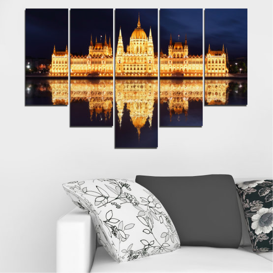 Canvas prints & wall decorative panels - 5 pieces №0116 » Yellow, Orange, Black, Beige, Dark grey » City, Night, Parliament, Hungary Form #6