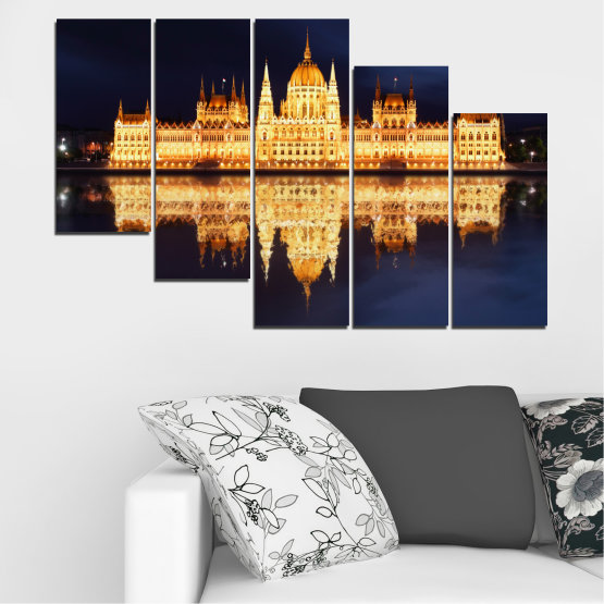 Canvas prints & wall decorative panels - 5 pieces №0116 » Yellow, Orange, Black, Beige, Dark grey » City, Night, Parliament, Hungary Form #7