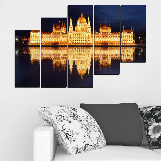 Canvas prints & wall decorative panels - 5 pieces №0116 » Yellow, Orange, Black, Beige, Dark grey » City, Night, Parliament, Hungary Form #8