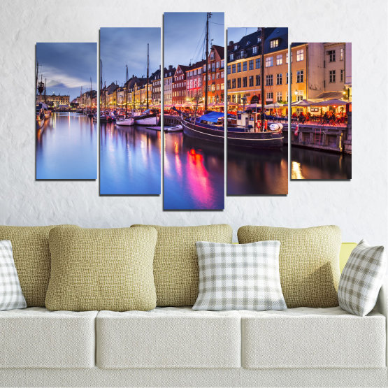 Canvas prints & wall decorative panels - 5 pieces №0117 » Purple, Blue, Orange, Black, Gray, Dark grey » Water, City, Night, River, Capital, Boat, Denmark Form #1